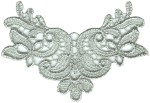 4'' by 2 3/4'' Silver Metallic Venice Lace Applique4'' by 2 3/4'' Silver Metallic Venice Lace Applique