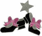 5 3/8'' by 4 7/8'' Shoes with Bows/Stars Iron on Applique5 3/8'' by 4 7/8'' Shoes with Bows/Stars Iron on Applique