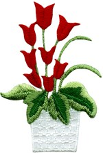 2 1/2'' by 1 5/8'' Iron On Red Tulips in Pot Applique2 1/2'' by 1 5/8'' Iron On Red Tulips in Pot Applique