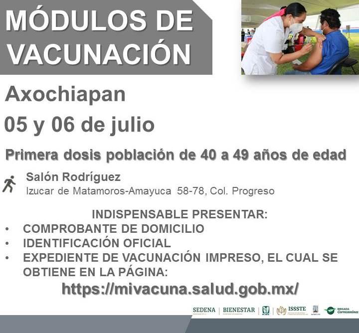 Vacunación Contra COVID-19 Para Adultos De 40 A 49 Años En Tepalcingo y Axochiapan Inicia El Lunes 05 De Julio | Lugar, Horario Y Requisitos