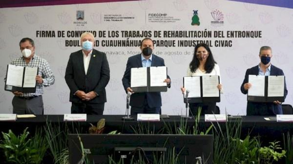 Firman convenio para realizar trabajos de rehabilitación del entronque Boulevard Cuauhnáhuac - Parque Industrial Civac