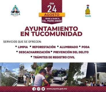 """Gobierno de Jojutla llevará el programa """"Ayuntamiento en tu Comunidad"""" a la colonia Pedro Amaro"""