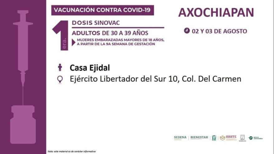Inicia aplicación de primeras dosis de la vacuna contra Covid-19 para personas e 30 a 39 años en Tepalcingo, Zacatepec y Axochiapan