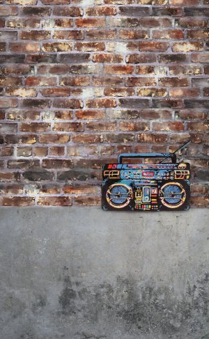 Boombox and brick wall painted cake smash photo backdrop