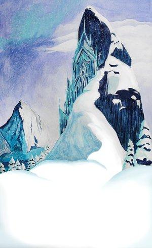 Frozen Winter mountain cake smash theme photo backdrop