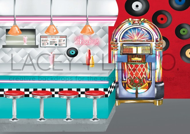 50's Diner Themed cake smash Photography Backdrop
