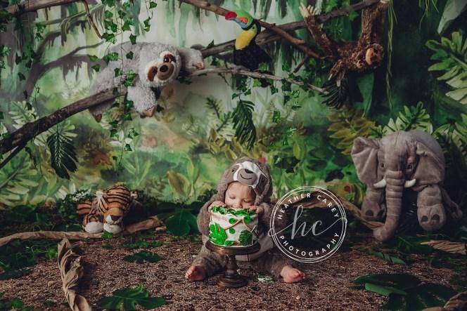 Mossy Jungle Themed Cake smash Photography Backdrop