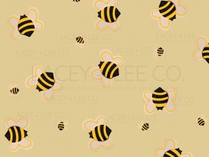 Small bees on a yellow photo backdrop