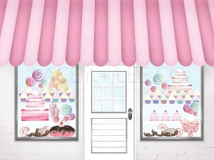 Sweet Shoppe Photo Backdrop with cake and candy and donuts