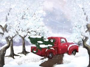 Red Farm truck in winter