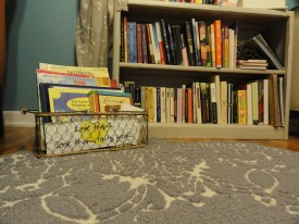 ~sigh~ honestly, this rug is the inspiration for this post... the finishing piece! Also the bookcase was repainted by Mom. Please come over and sit on my rug with me.