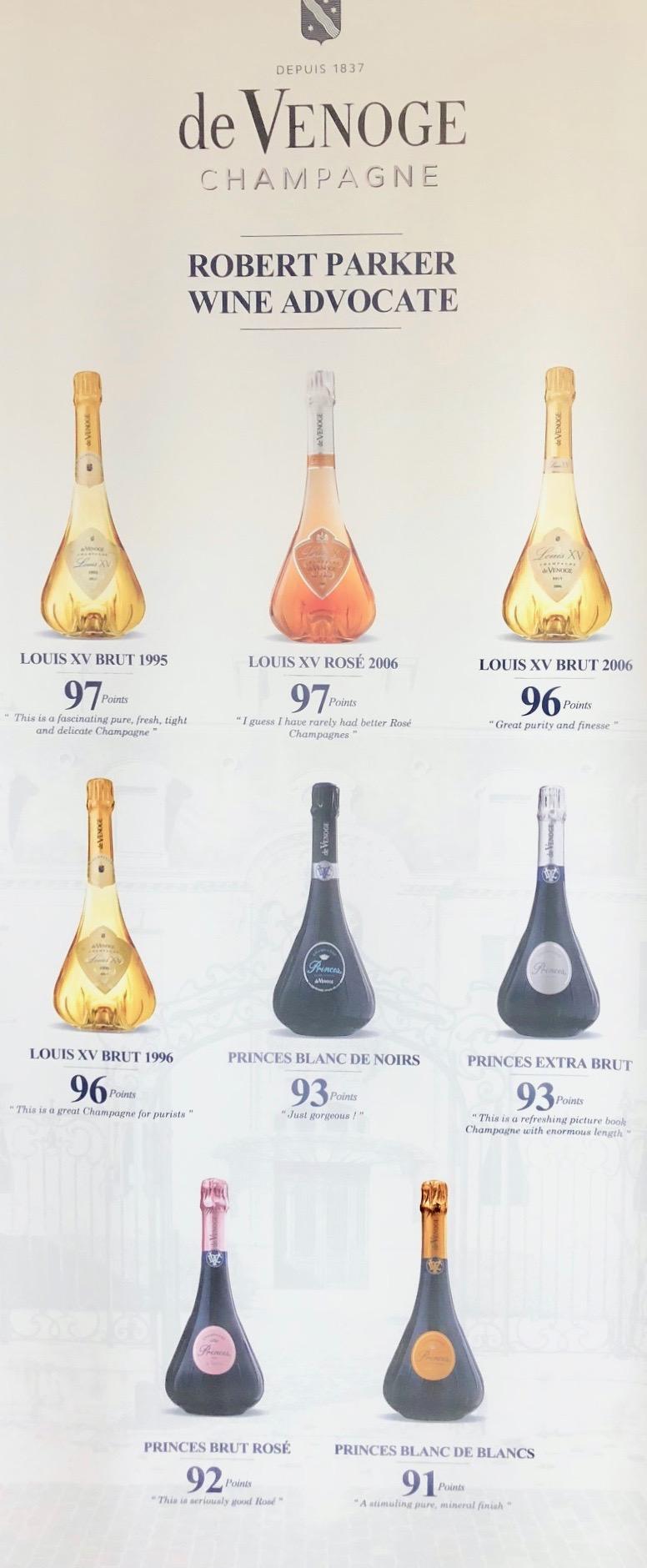 Les bonnes notes du guide Parker mettant en avant le champagne De Venoge.