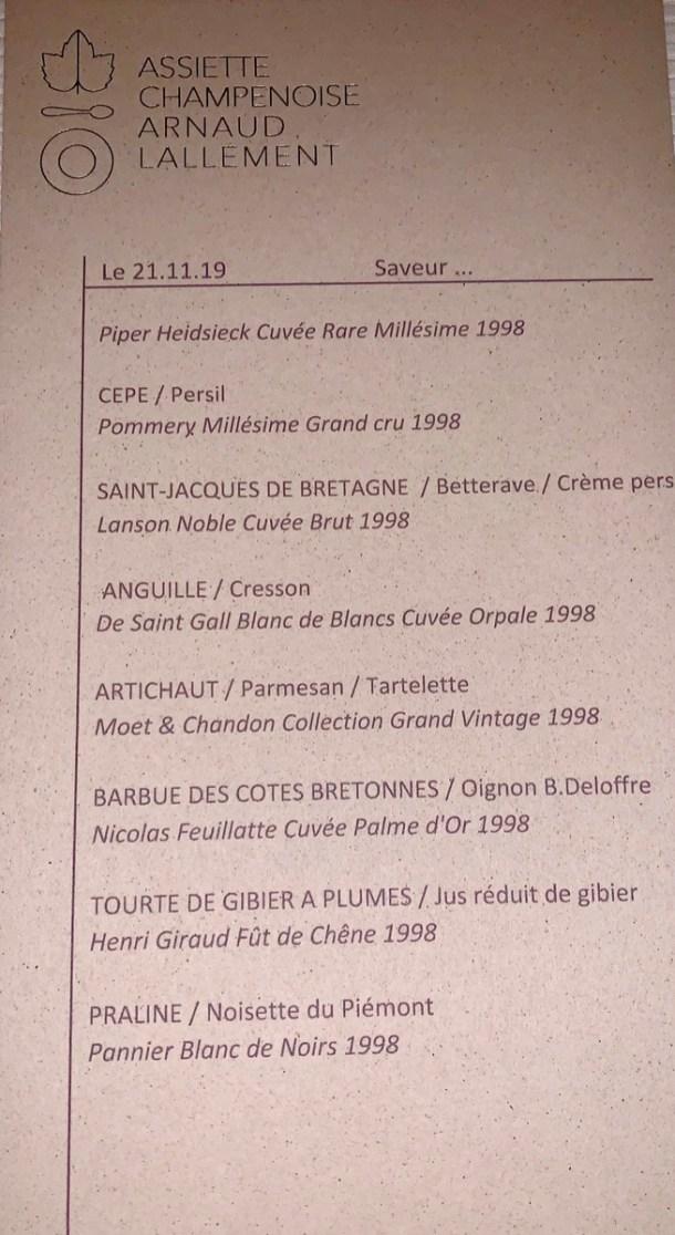 Le menu Accords Mets/Vins sur le millésime 1998