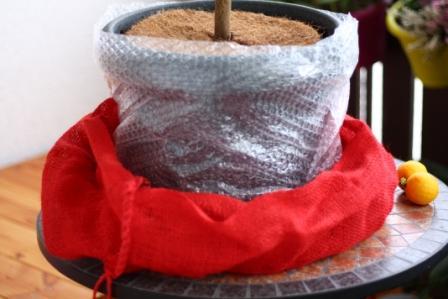 Verpacken eines Topfes mit diversen Schichten
