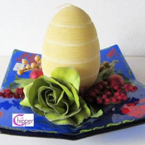 ciotola centrotavola blu con candela lachipper.com