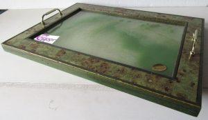 vassoio di vetro e legno
