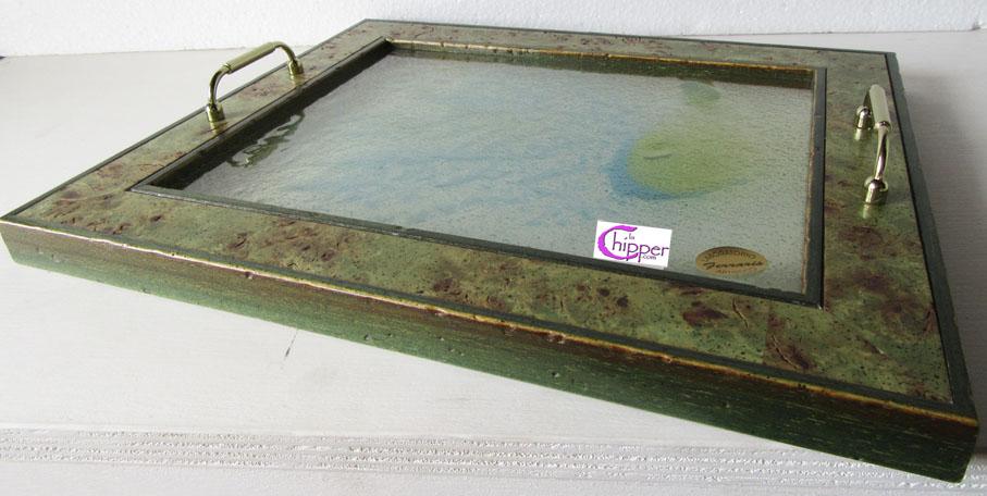 Vassoi In Legno Con Vetro : Vassoio decorato vetro e graniglia con cornice lachipper.com