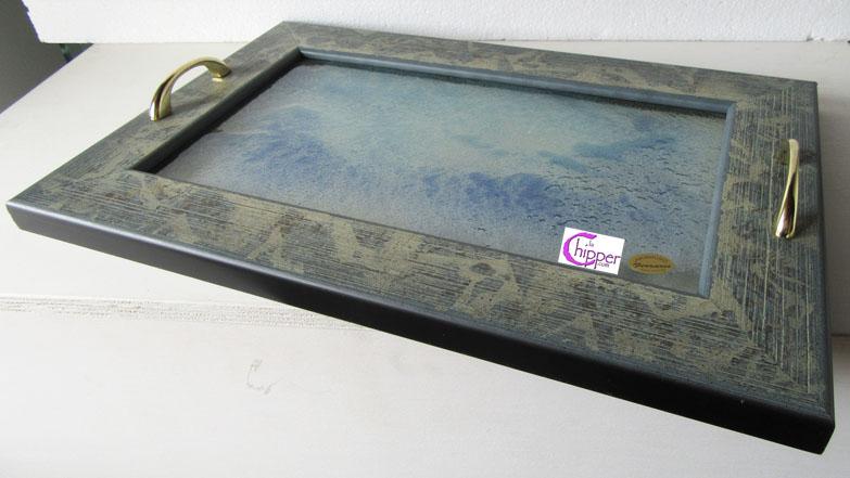Vassoi In Legno Con Vetro : Vassoio vetro decorato graniglia con cornice legno lachipper.com