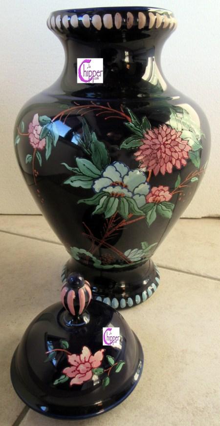 vaso ceramica blu decoro orientale www.lachipper.com