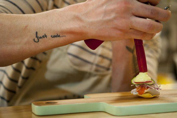 Tosta aguachile corvina - Taberna de El Loco Antonelli - Chispería de Chamberí