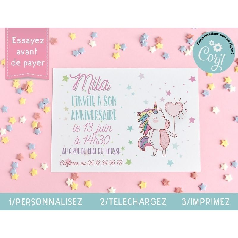 cartons d invitation anniversaire a imprimer licorne