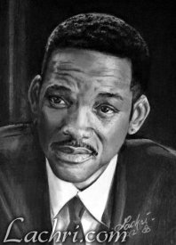 Will Smith graphite and carbon pencil portrait