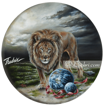 """""""the art of war"""" oil over acrylic surreal lion painting"""