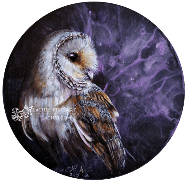 Barn owl oil over acrylic painting