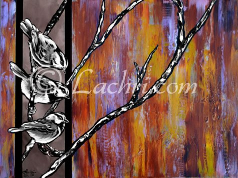 chickadee pop art acrylic painting