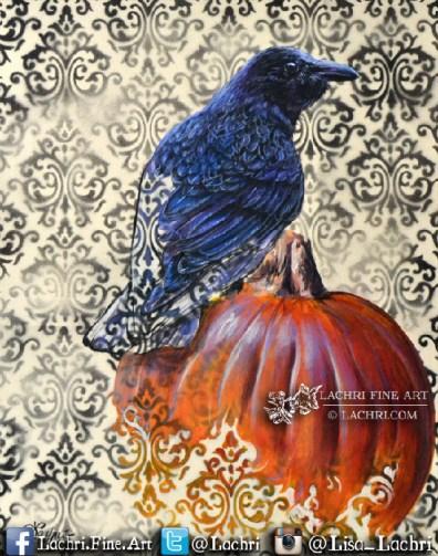 surreal crow and pumpkin acrylic painting