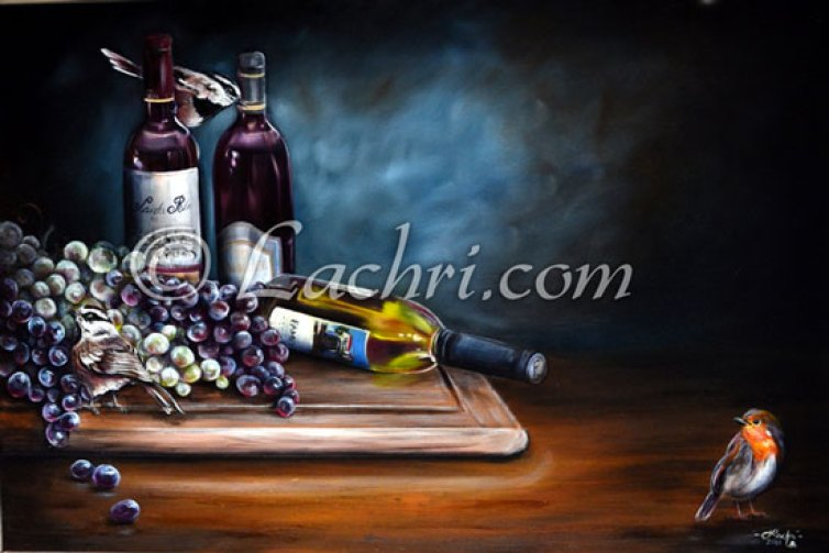 Grapes and wine oil painting