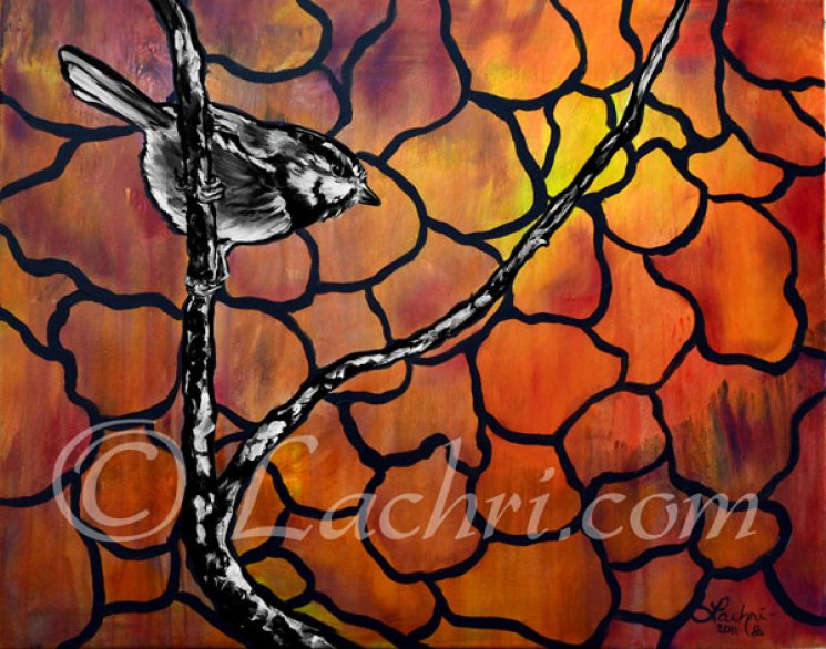 Chickadee orange and black and white acrylic painting
