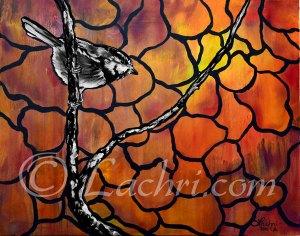 Chickadee orange and black and white acrylic painting