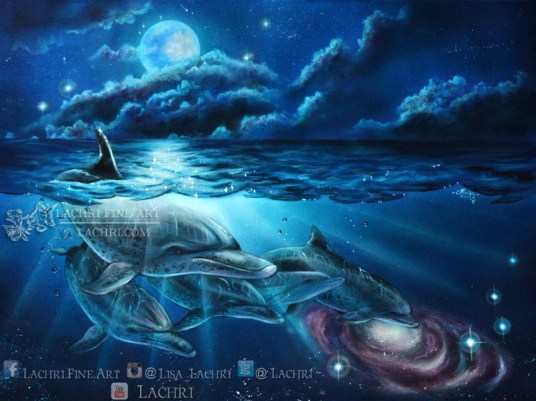 Surreal dolphin acrylic painting