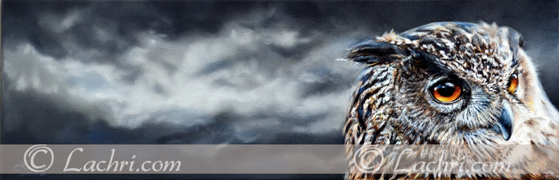 eagle owl oil over acrylic painting