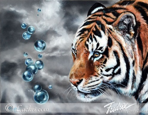 Tiger and bubbles oil painting