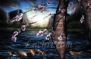 surreal oil over acrylic koi painting
