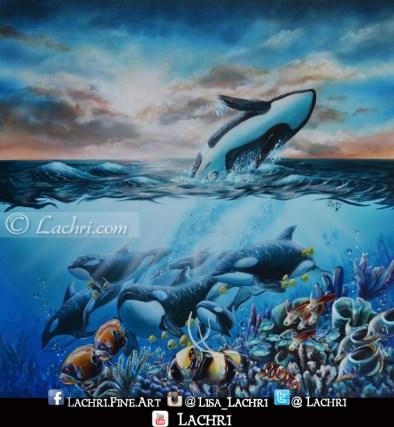 Orcas in acrylic paint