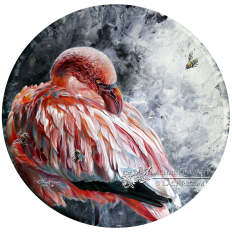 Lesser Flamingo and Bees in Acrylics