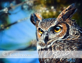 great horned owl acrylic painting