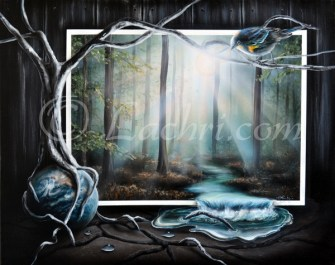 Surreal landscape acrylic painting
