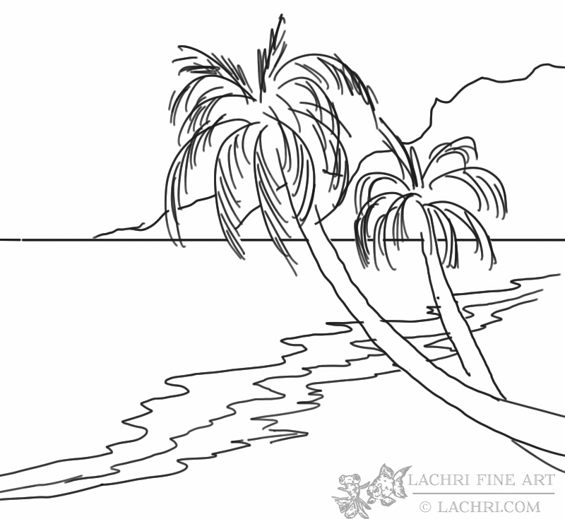Line Art Beach : How to paint a beach and palm trees lachri fine art