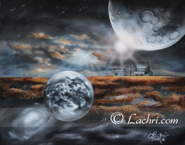 """""""Light up the sky"""" surreal acrylic space painting"""