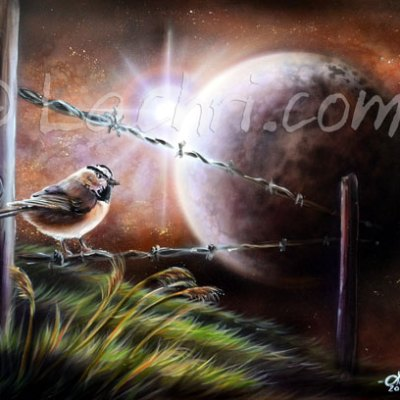 Chickadee and moon surreal acrylic painting