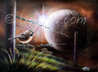 Chickadee and moon surreal acrylic painting