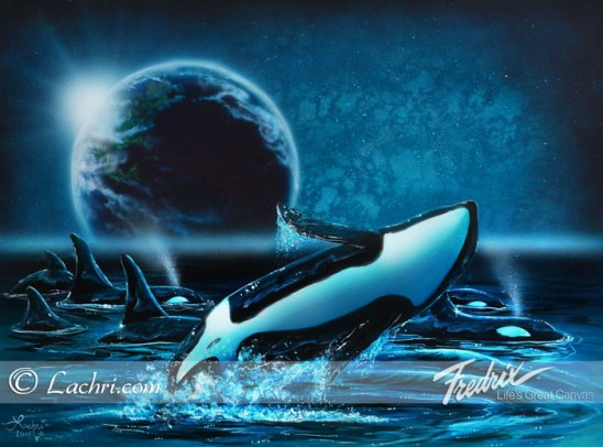 Surreal earth and orca acrylic painting