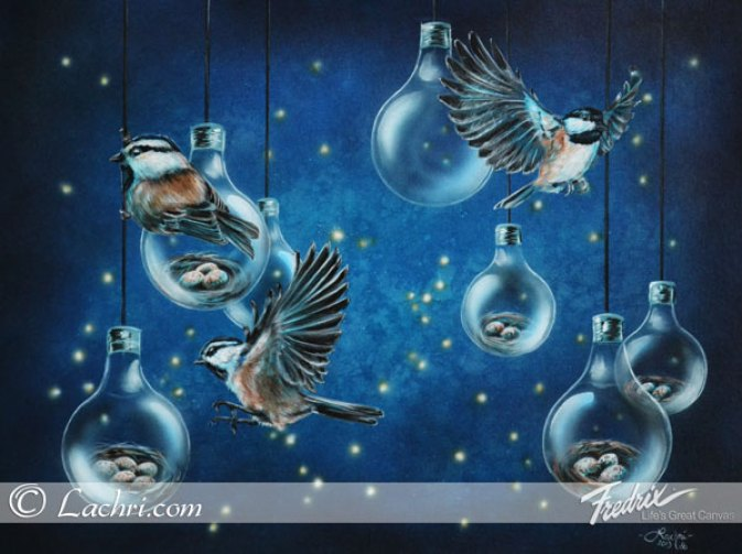 Surreal chickadee and firefly acrylic painting