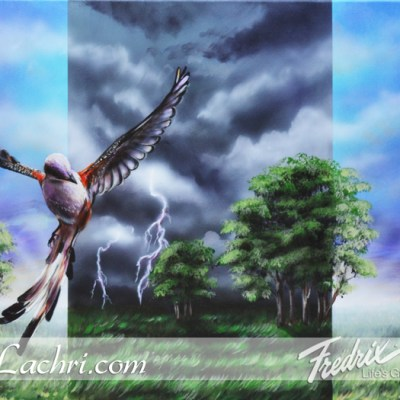 Surreal scissor-tail storm acrylic painting
