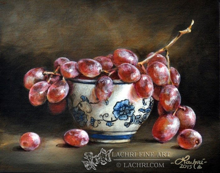 grapes in acrylic paint
