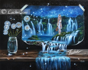 Surreal acrylic waterfall painting